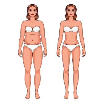 Vector color illustration of a overweight girl and slim girl.girl in underwear isolated from background
