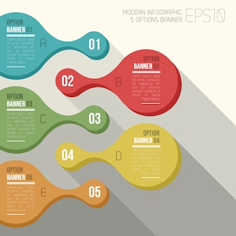 Vector color rounded 5 option banner infographic