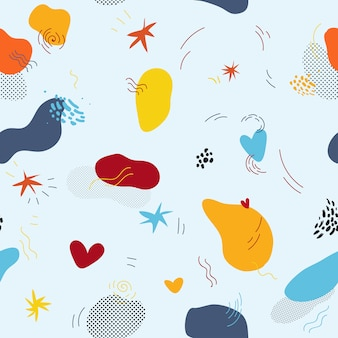 Vector color seamless pattern in memphis style with raster effect.