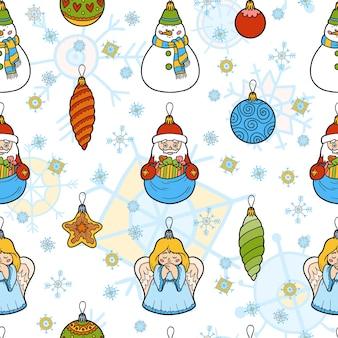 ベクトル色のシームレスなパターン、白い背景の上のクリスマスツリーのおもちゃのセット