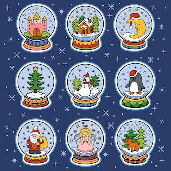 Векторный набор цветов снежков, красочные рождественские наклейки