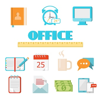 Vector colored flat office icon set for web and mobile application