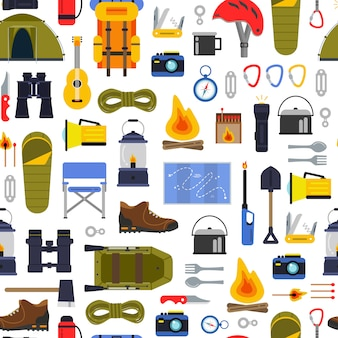 Vector colored flat style camping elements of set pattern or background illustration