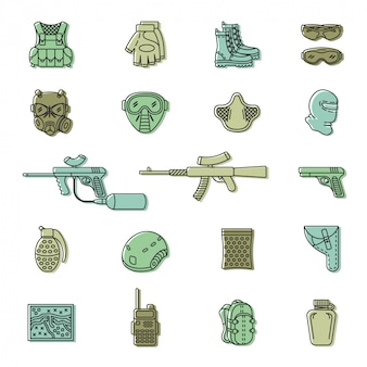 Vector colored paintball or airsoft icon set