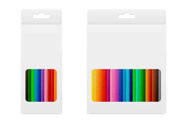 상자에 벡터 색연필