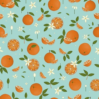 Vector colored seamless pattern of oranges isolated on blue pastel background