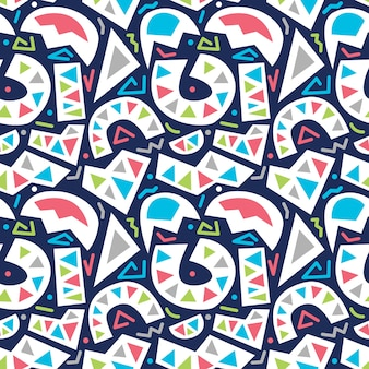 Vector colorful abstract basic shapes seamless pattern isolated in blue background