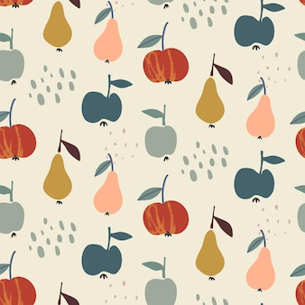 Vector colorful autumn natural seamless pattern with fruits pear and apple