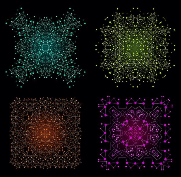 벡터 화려한 밝은 모양, 선과 점 배경 세트와 분자 구조.