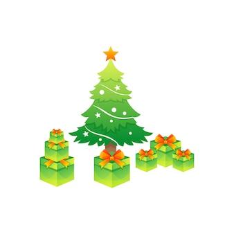 Векторный логотип красочная рождественская елка