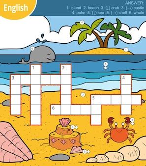 영어로 된 벡터 다채로운 십자말풀이, 바다와 동물에 대한 어린이를 위한 교육 게임