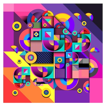 Vector colorful curvy geometric background and pattern