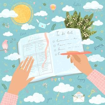 Векторная красочная милая иллюстрация руки женщины заполняет бумажный дневник, строит планы на свадьбу