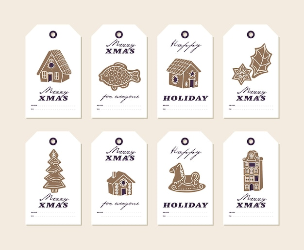 Vector colorful design christmas gingerbread cookies on white background christmas tags or labels se...