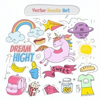 Vector Colorful Doodle Set