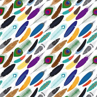 Vector colorful feathers seamless background