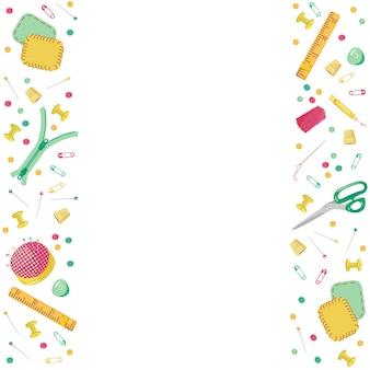 Вектор красочная рамка швейных инструментов на белом фоне для рукоделия. оформление ателье, ремонт одежды в мультяшном стиле. фон из глазка, пуговицы, ножницы, нитки, наперсток