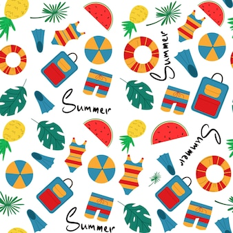 Vector colorful fun summer seamless pattern with tropical leaves, lettering, suitcase, beach and summer accessories. beach and summer vacation recurring background for fabric, textiles, branding
