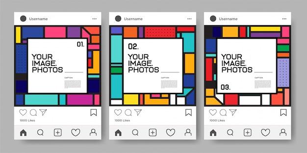 Instagram 피드에 대한 벡터 다채로운 기하학적 디자인 서식 파일