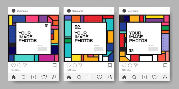 Vector colorful geometric design template for instagram feed