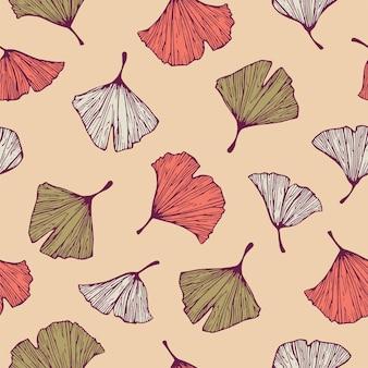 ベクトルカラフルなイチョウの木の葉のイラストモチーフシームレスリピートパターンデジタルファイルパターン