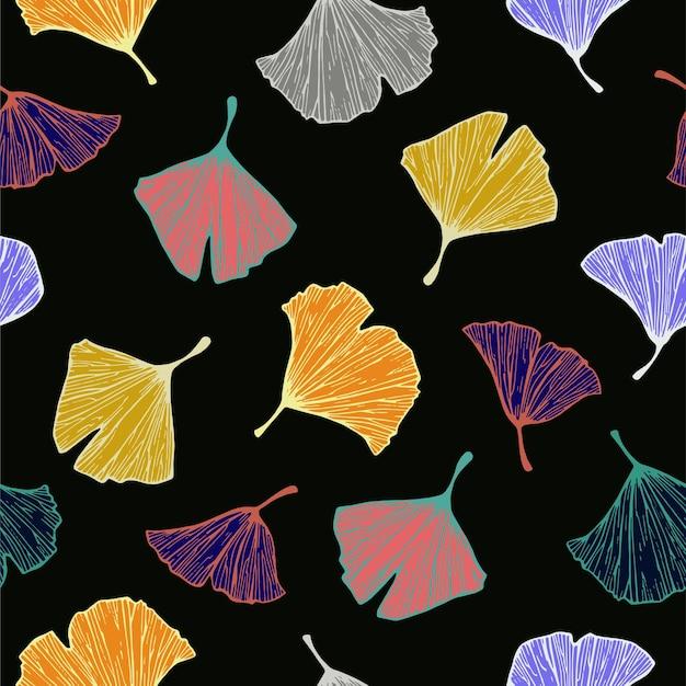 ベクトルカラフルなイチョウの木の葉のイラストモチーフシームレスな繰り返しパターン