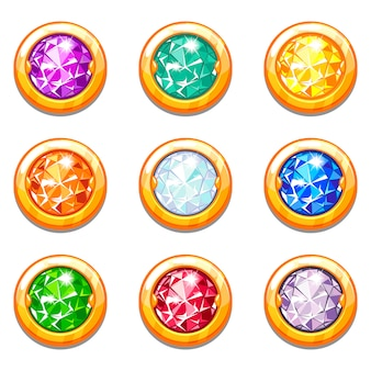 Vector colorful golden amulets with diamonds