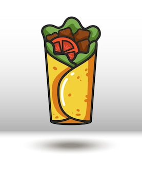 Vector colorful icon of burrito isolated on white background