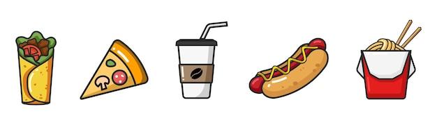 Icona variopinta di vettore della scatola del wok del hot dog del caffè della pizza del burrito isolata su fondo bianco