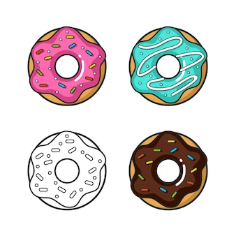 Vector colorful icon of four doughnuts isolated on white background
