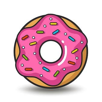 흰색 배경에 고립 된 핑크 도넛의 벡터 다채로운 아이콘