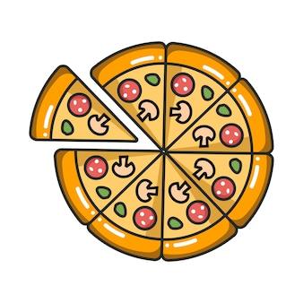 흰색 배경에 고립 된 피자의 벡터 다채로운 아이콘