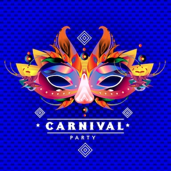 Vector colorful illustration of carnival mask
