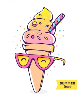 Vector colorful illustration of character gradient ice cream with glasses on white background