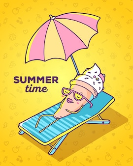Vector colorful illustration of character ice cream with glasses lying on sun lounger and sunbathe on yellow background