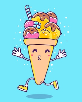 Vector colorful illustration of character ice cream with legs and hands on blue background