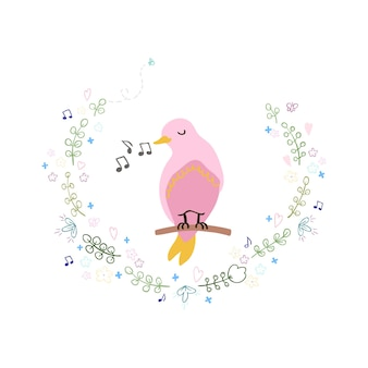 귀여운 새와 화환의 벡터 화려한 그림