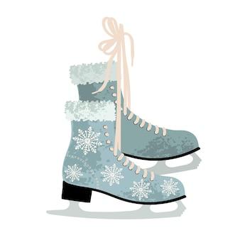 겨울 피겨 스케이트 빈티지 아이스 링크 장비 신발의 벡터 다채로운 그림
