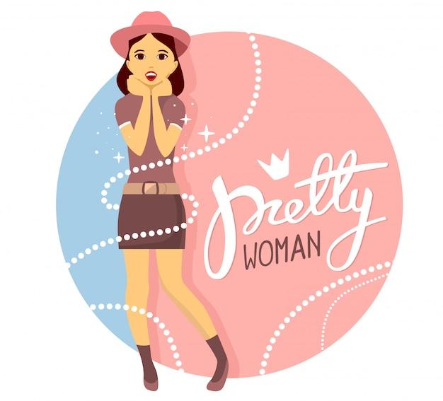 帽子の少女のベクトルカラフルなイラストは、ピンクとブルーの背景にテキストで顔の近くに彼女の手を置きます。