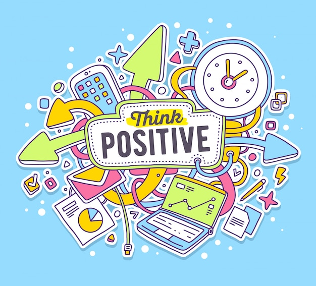 Vector colorful illustration of office objects with text on blue background. think positive concept.