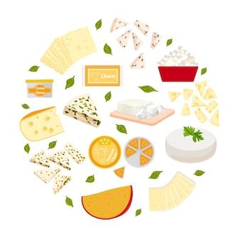 Вектор красочные иллюстрации набор сыров разного типа.