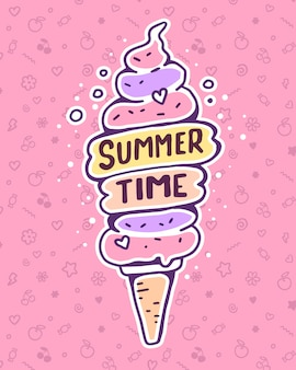 Vector colorful illustration of very high ice cream with inscription on pink background. summer time