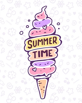 Vector colorful illustration of very high ice cream with text on pattern background. summer time