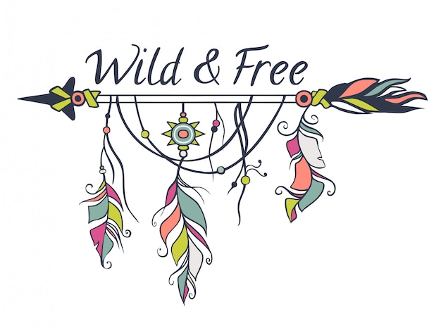 Vector colorful illustration with ethnic arrows, feathers and tribal elements. boho and hippie style. american indian motifs