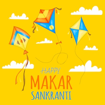 Vector colorful kites for happy makar sankranti festival celebration.