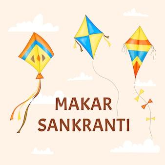 Vector colorful kites for happy makar sankranti festival celebration.