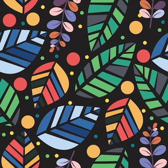 Vector colorful leaves seamless pattern isolated in black background