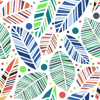 Vector colorful leaves seamless pattern isolated in white background