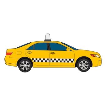 흰색 배경에 고립 된 노란색 자동차 택시의 벡터 다채로운 현대 그림. 비즈니스, 정보 그래픽, 배너, 프레젠테이션에 사용할 수 있습니다.