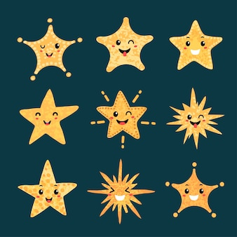 Vector colorful modern set with hand draw llustrations of star shape with emotions